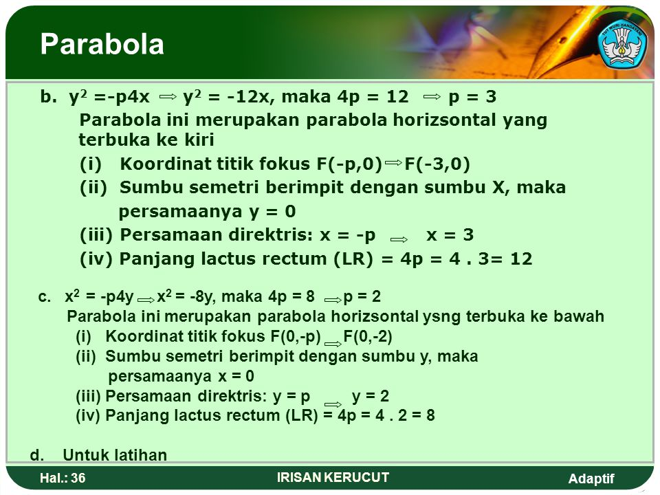 Parabola c. x2 = -p4y x2 = -8y, maka 4p = 8 p = 2