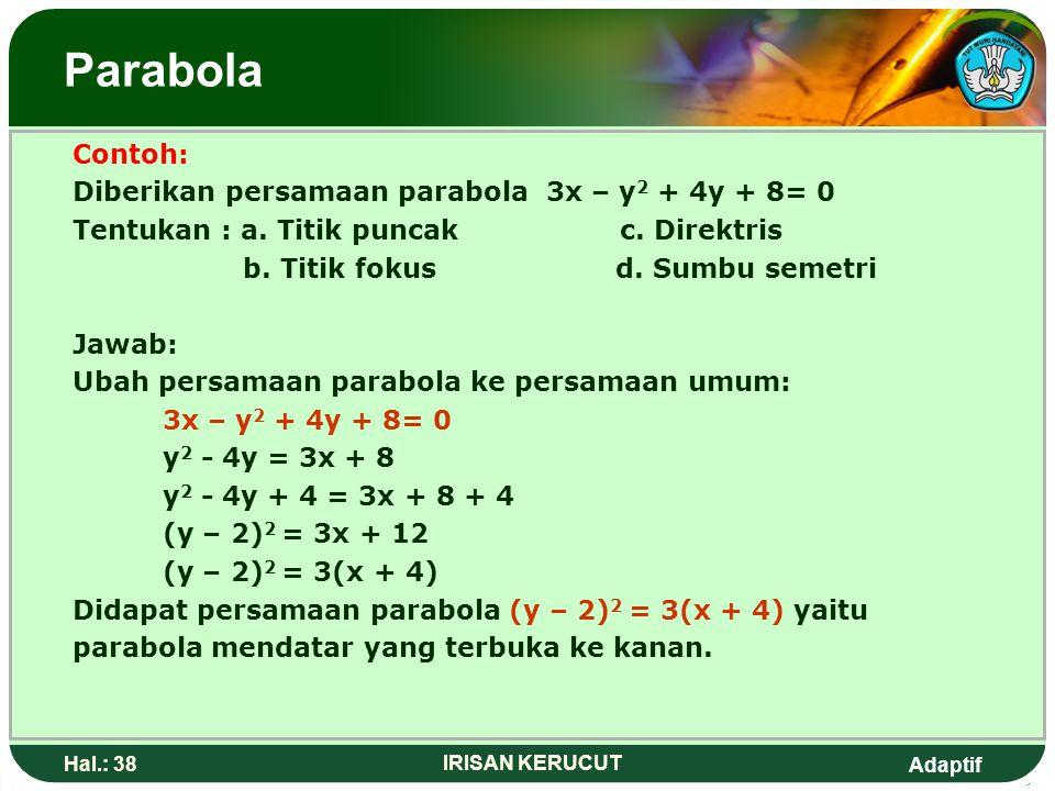 Parabola Contoh: Diberikan persamaan parabola 3x – y2 + 4y + 8= 0