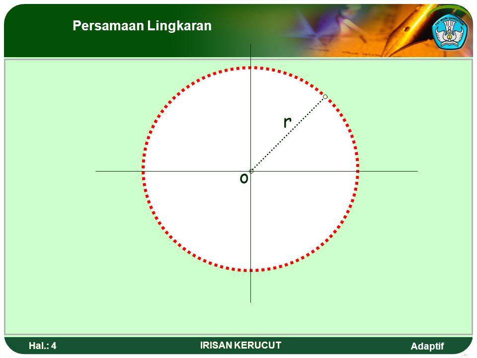 Persamaan Lingkaran r o Hal.: 4 IRISAN KERUCUT