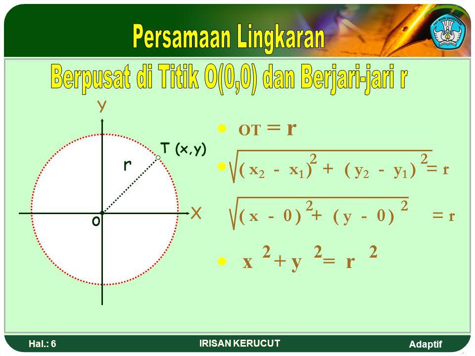 Berpusat di Titik O(0,0) dan Berjari-jari r