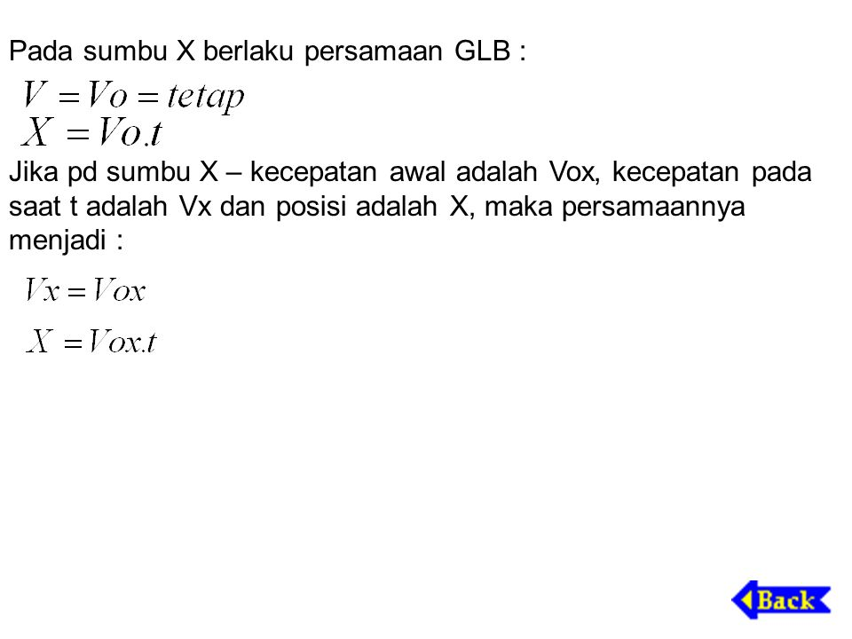 Pada sumbu X berlaku persamaan GLB :