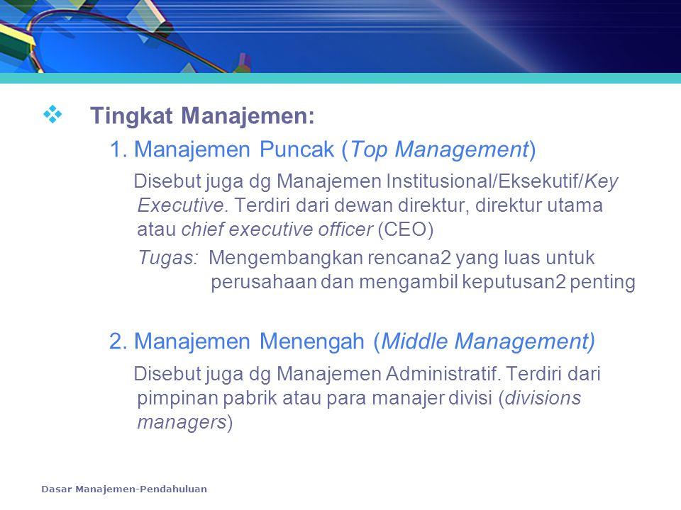 Tingkat Manajemen: 1. Manajemen Puncak (Top Management)