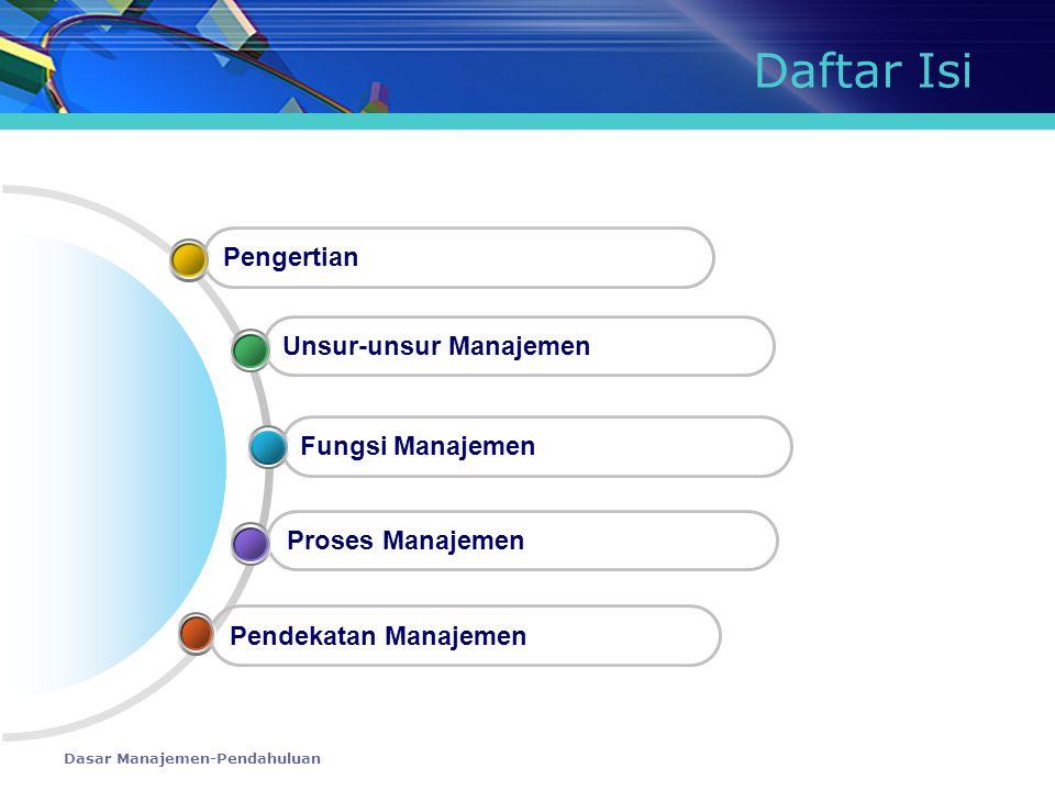 Daftar Isi Pengertian Unsur-unsur Manajemen Fungsi Manajemen