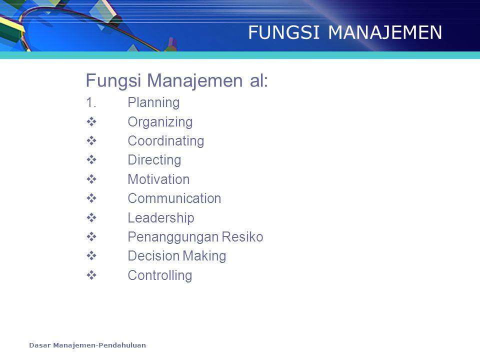 FUNGSI MANAJEMEN Fungsi Manajemen al: 1. Planning Organizing