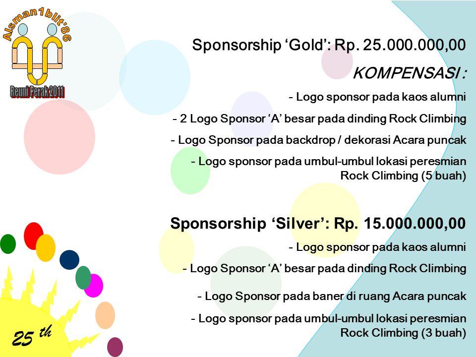 25 th Sponsorship 'Gold': Rp. 25.000.000,00 KOMPENSASI :