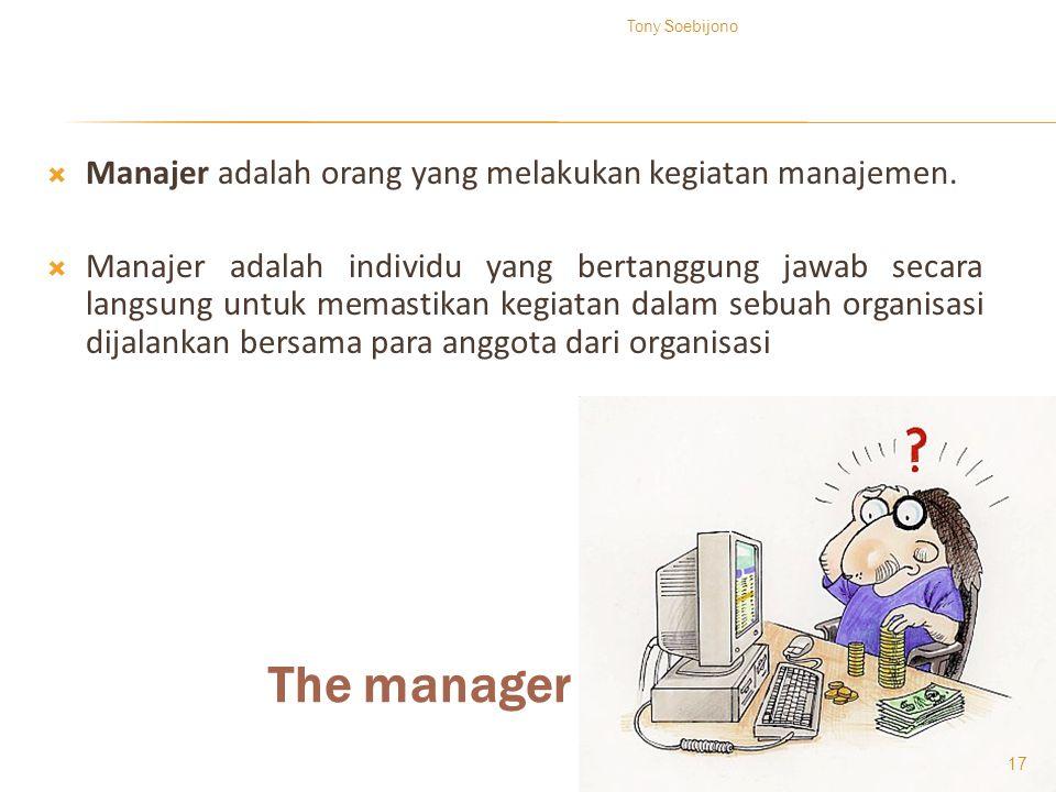 The manager Manajer adalah orang yang melakukan kegiatan manajemen.