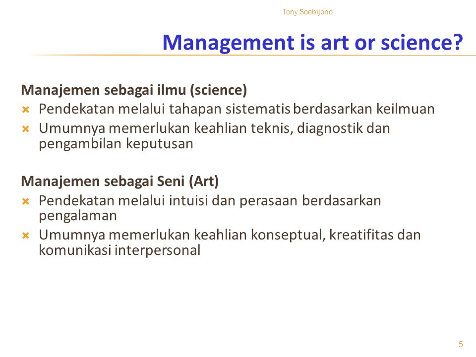 Management is art or science