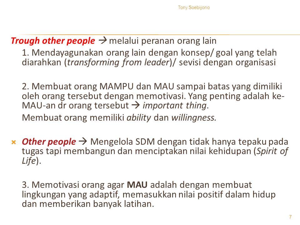 Trough other people  melalui peranan orang lain