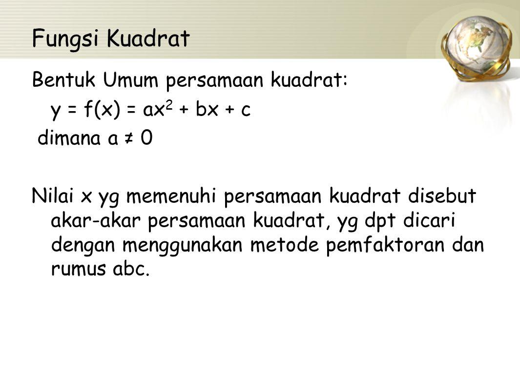 Fungsi Kuadrat Bentuk Umum persamaan kuadrat: y = f(x) = ax2 + bx + c