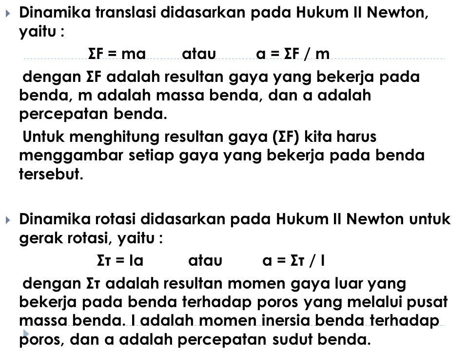 Dinamika translasi didasarkan pada Hukum II Newton, yaitu :