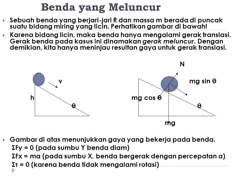 Benda yang Meluncur Sebuah benda yang berjari-jari R dan massa m berada di puncak suatu bidang miring yang licin. Perhatikan gambar di bawah!