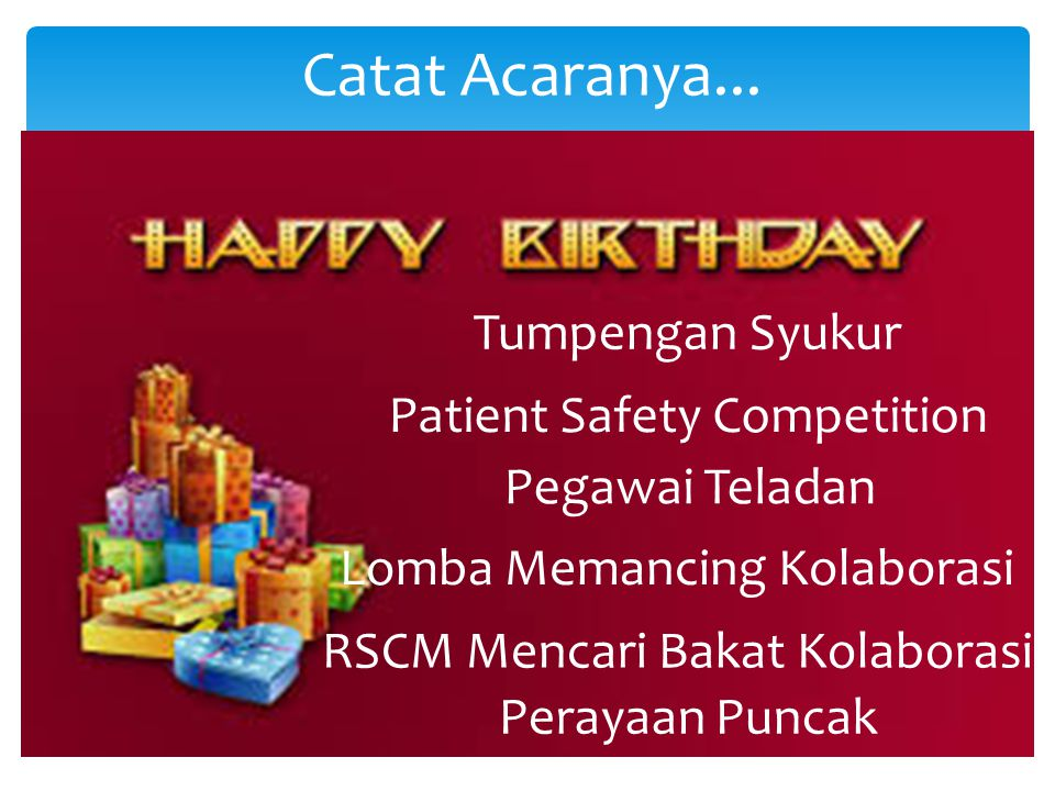 Catat Acaranya... Tumpengan Syukur Patient Safety Competition