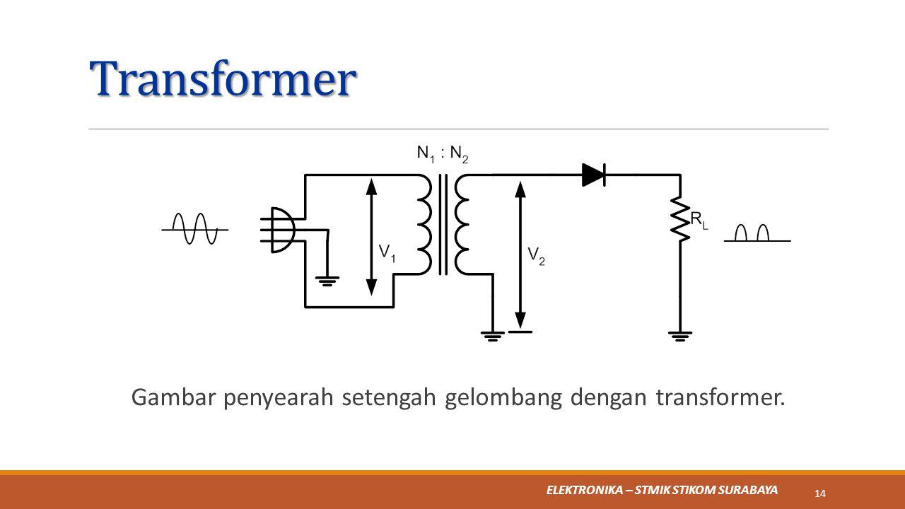 Gambar penyearah setengah gelombang dengan transformer.
