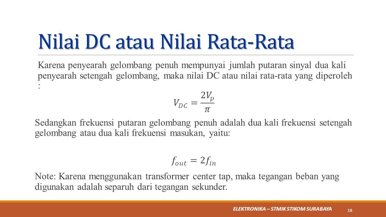 Nilai DC atau Nilai Rata-Rata