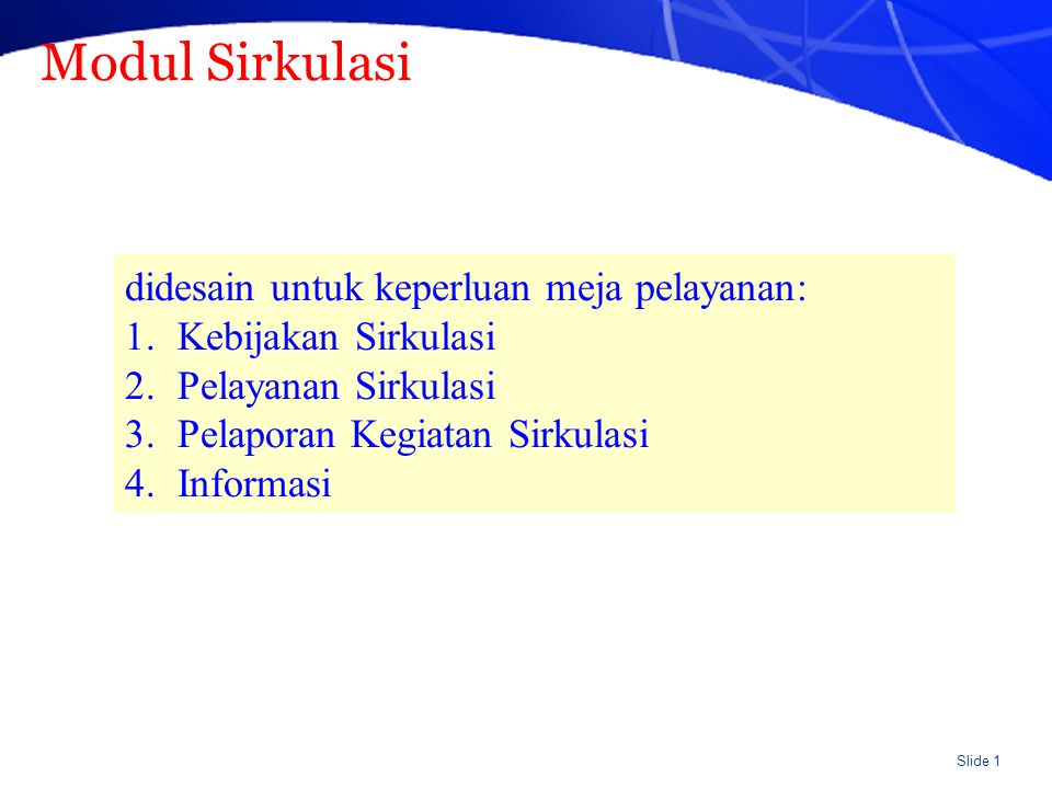 Spesifikasi Modul Sirkulasi (umum)