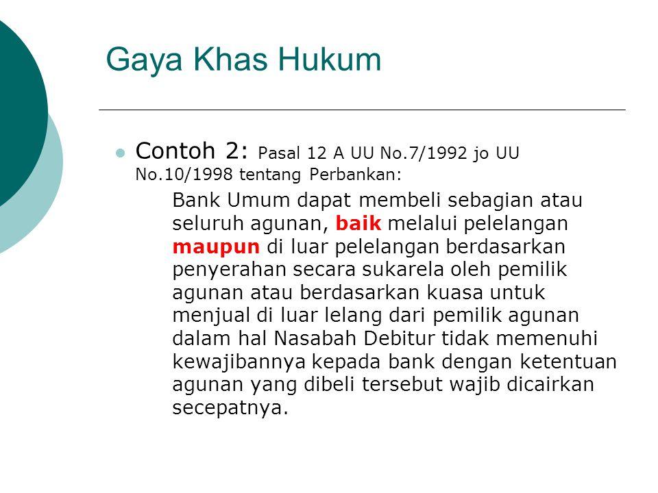 Gaya Khas Hukum Contoh 2: Pasal 12 A UU No.7/1992 jo UU No.10/1998 tentang Perbankan: