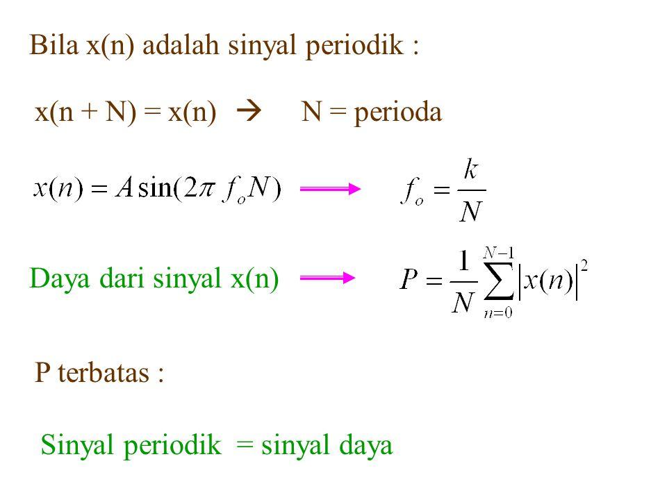 Bila x(n) adalah sinyal periodik :