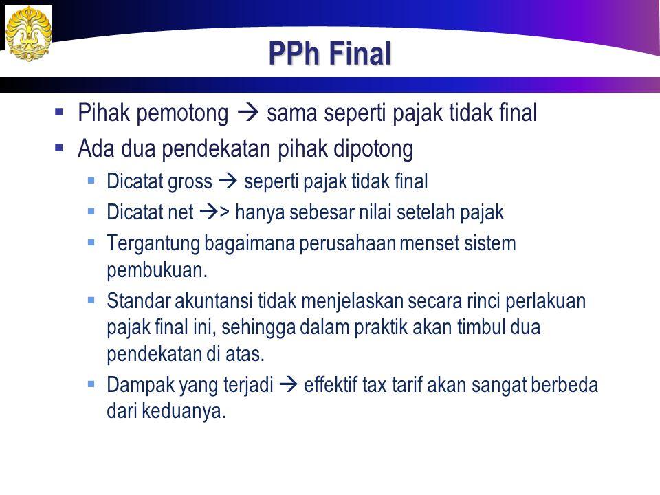 PPh Final Pihak pemotong  sama seperti pajak tidak final