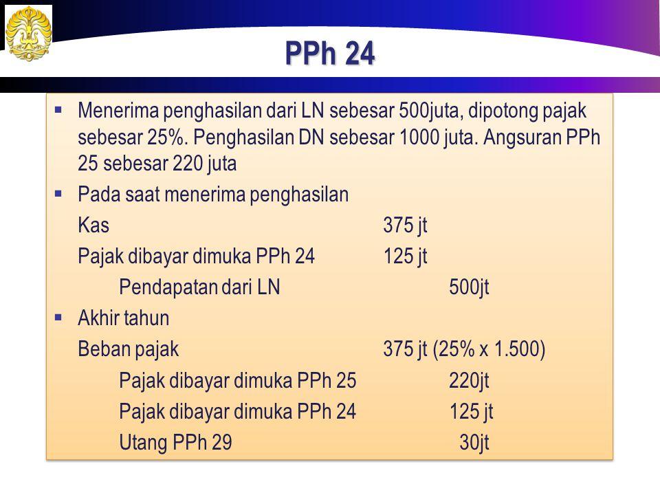 PPh 24 Menerima penghasilan dari LN sebesar 500juta, dipotong pajak sebesar 25%. Penghasilan DN sebesar 1000 juta. Angsuran PPh 25 sebesar 220 juta.