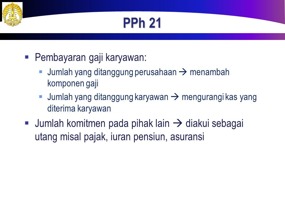 PPh 21 Pembayaran gaji karyawan: