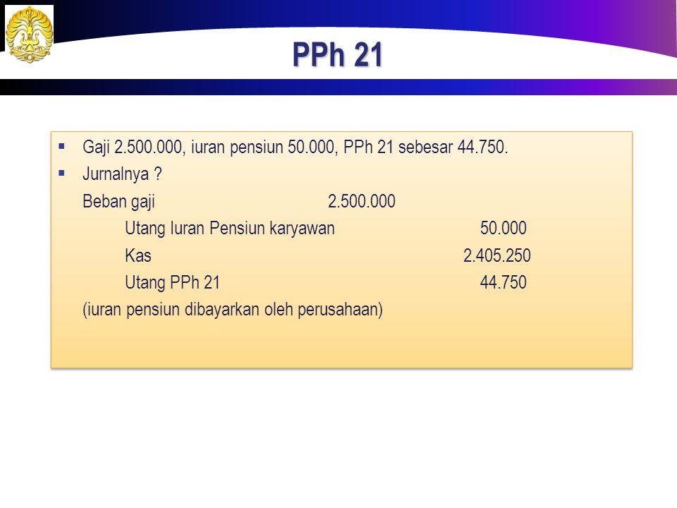 PPh 21 Gaji 2.500.000, iuran pensiun 50.000, PPh 21 sebesar 44.750.