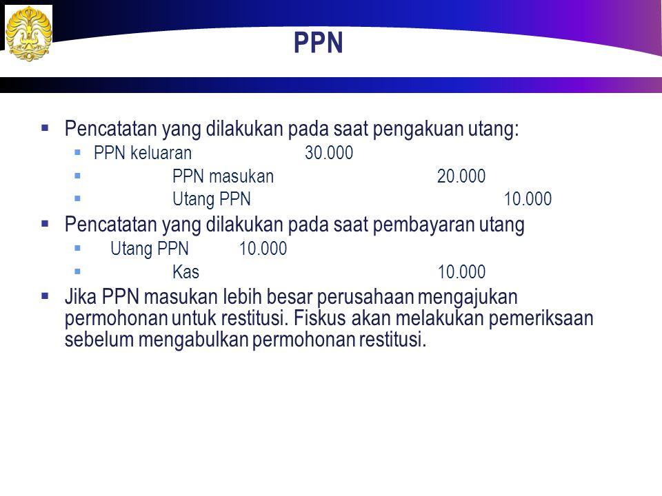 PPN Pencatatan yang dilakukan pada saat pengakuan utang: