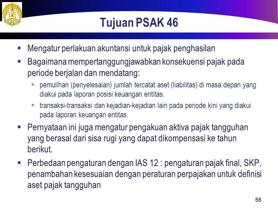 Tujuan PSAK 46 Mengatur perlakuan akuntansi untuk pajak penghasilan