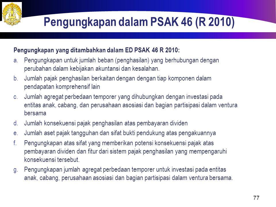 Pengungkapan dalam PSAK 46 (R 2010)