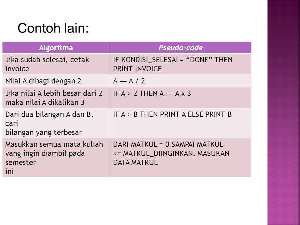 Contoh lain: Algoritma Pseudo-code Jika sudah selesai, cetak invoice