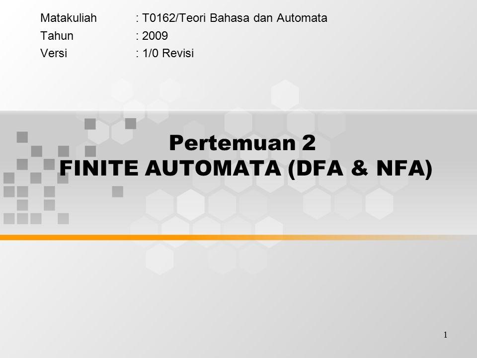 Pertemuan 2 FINITE AUTOMATA (DFA & NFA)