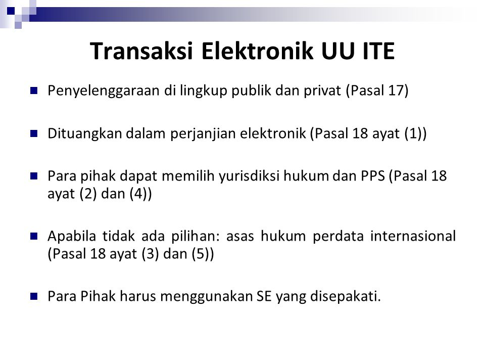 Transaksi Elektronik UU ITE