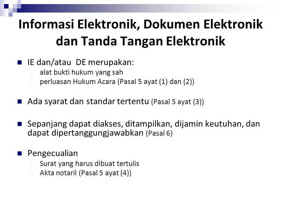 Informasi Elektronik, Dokumen Elektronik dan Tanda Tangan Elektronik