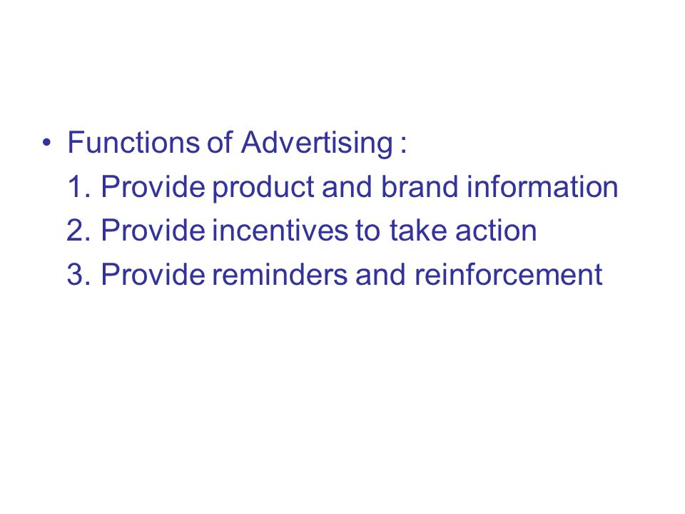 Functions of Advertising :