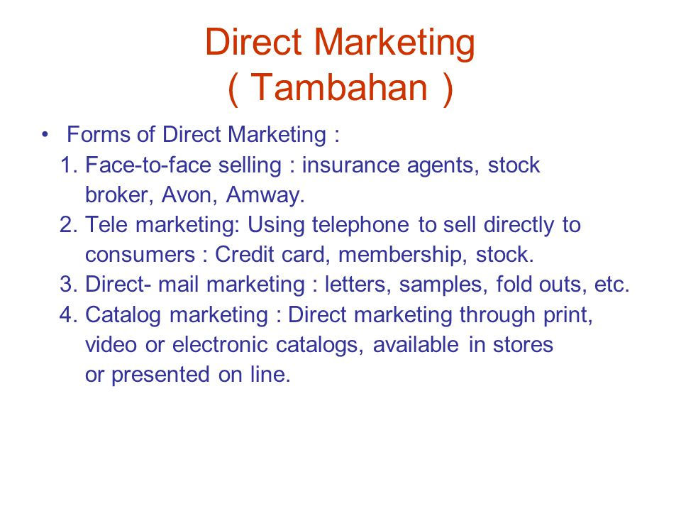 Direct Marketing ( Tambahan )