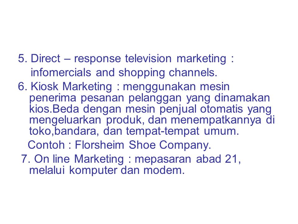 5. Direct – response television marketing :