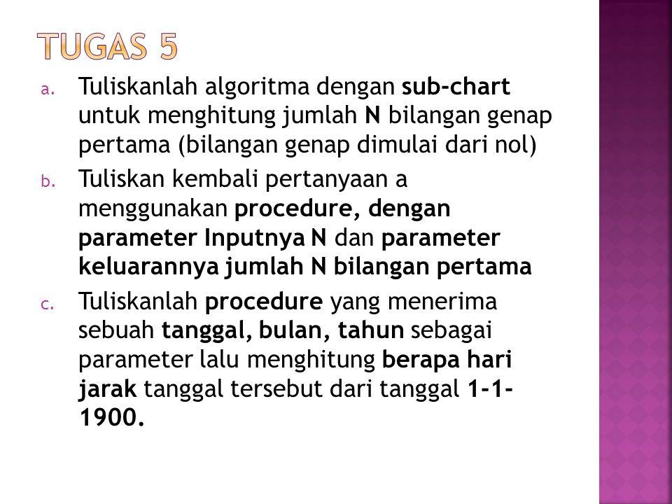 Tugas 5 Tuliskanlah algoritma dengan sub-chart untuk menghitung jumlah N bilangan genap pertama (bilangan genap dimulai dari nol)