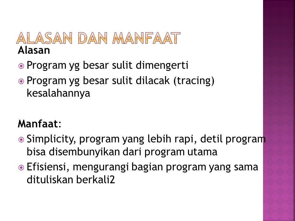 Alasan dan Manfaat Alasan Program yg besar sulit dimengerti