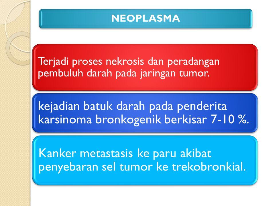 NEOPLASMA Terjadi proses nekrosis dan peradangan pembuluh darah pada jaringan tumor.