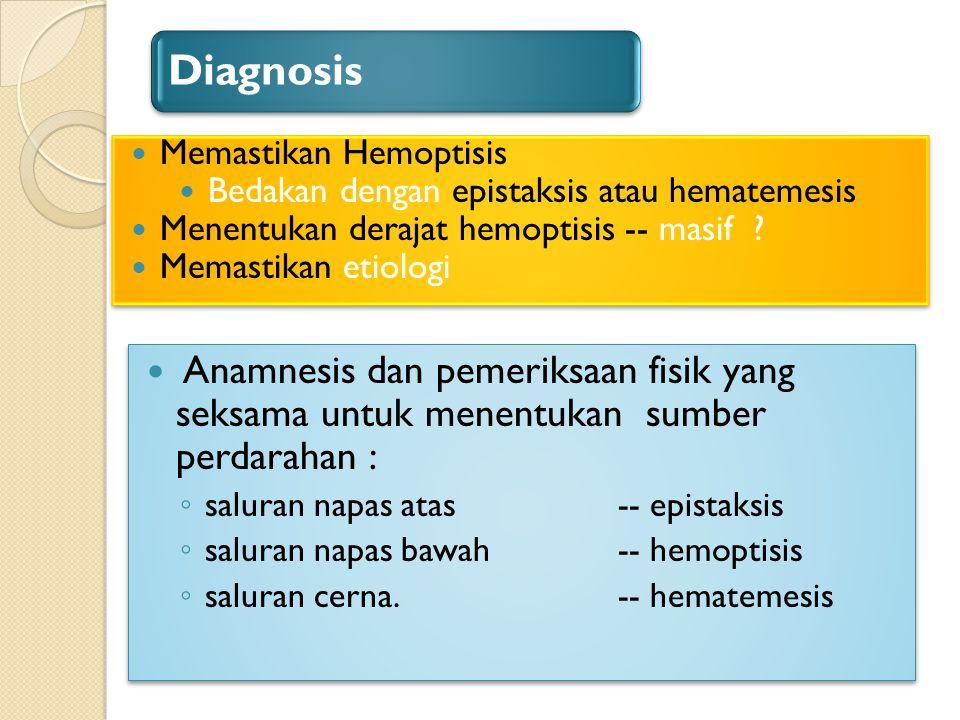 Diagnosis Memastikan Hemoptisis. Bedakan dengan epistaksis atau hematemesis. Menentukan derajat hemoptisis -- masif