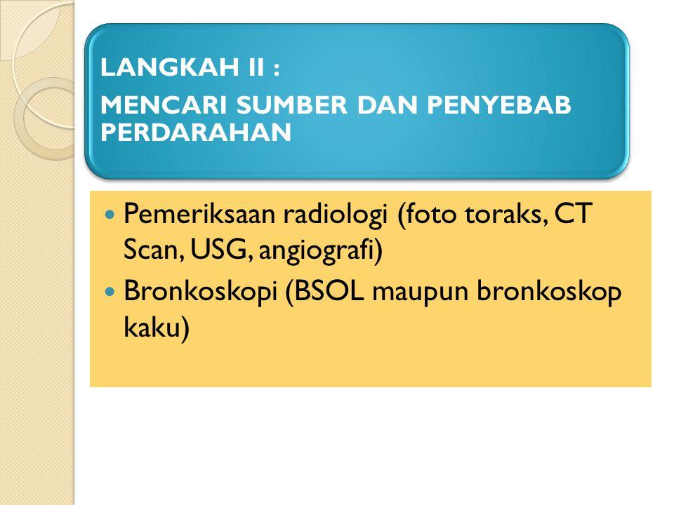 Pemeriksaan radiologi (foto toraks, CT Scan, USG, angiografi)