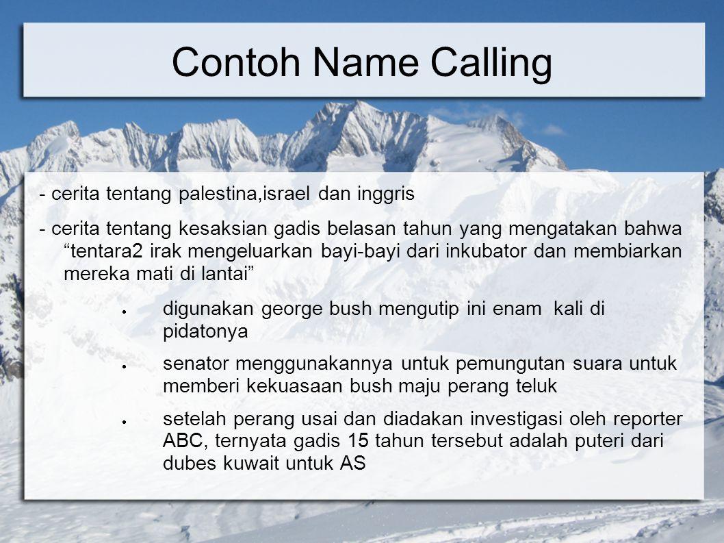 Contoh Name Calling - cerita tentang palestina,israel dan inggris