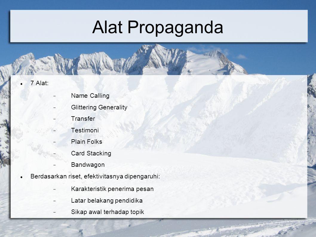 Alat Propaganda 7 Alat: Name Calling Glittering Generality Transfer