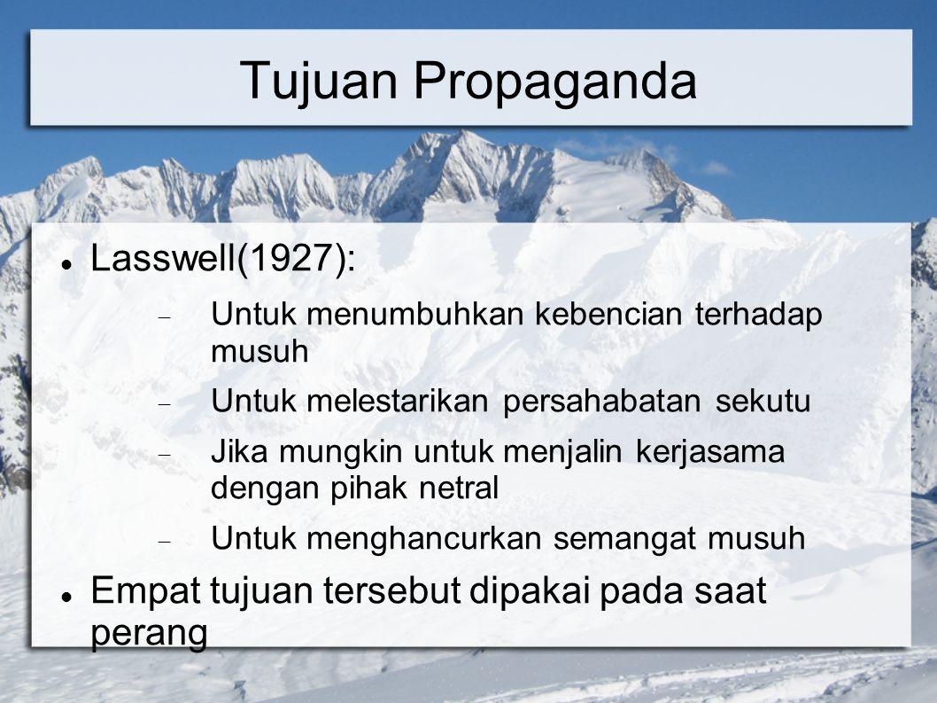 Tujuan Propaganda Lasswell(1927):