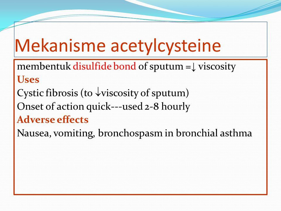 Mekanisme acetylcysteine