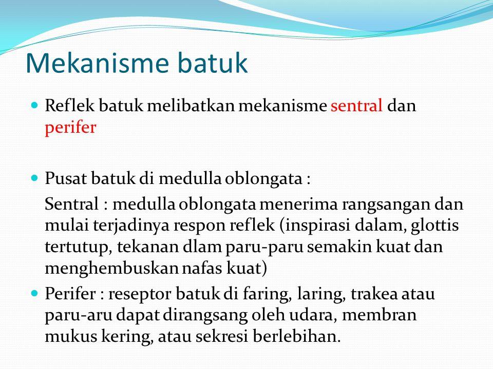 Mekanisme batuk Reflek batuk melibatkan mekanisme sentral dan perifer