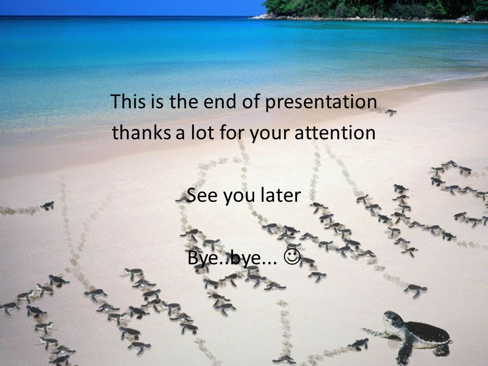 This is the end of presentation thanks a lot for your attention See you later Bye..bye... 