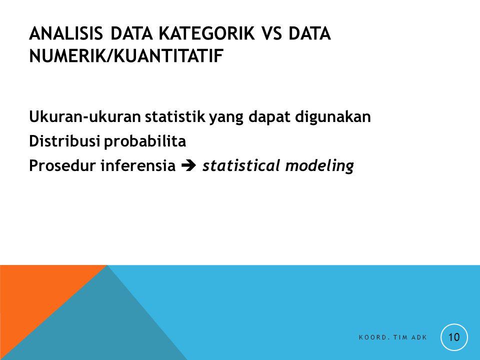 ANALISIS DATA KATEGORIK vs DATA NUMERIK/KUANTITATIF