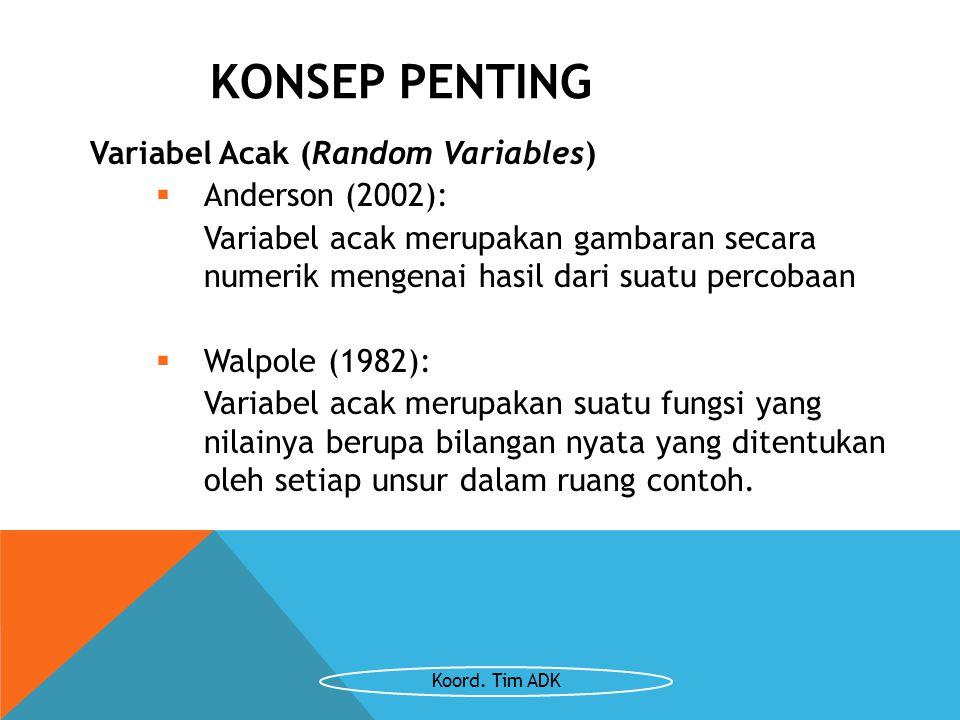 KONSEP PENTING Variabel Acak (Random Variables) Anderson (2002):