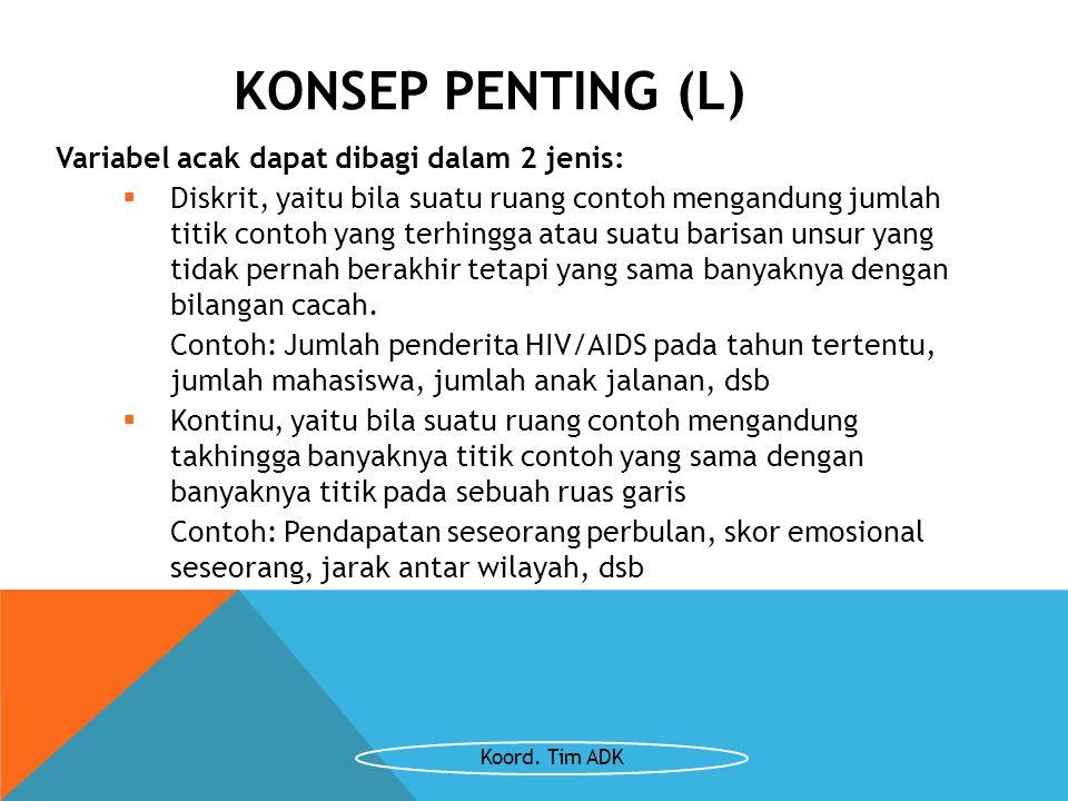 KONSEP PENTING (L) Variabel acak dapat dibagi dalam 2 jenis: