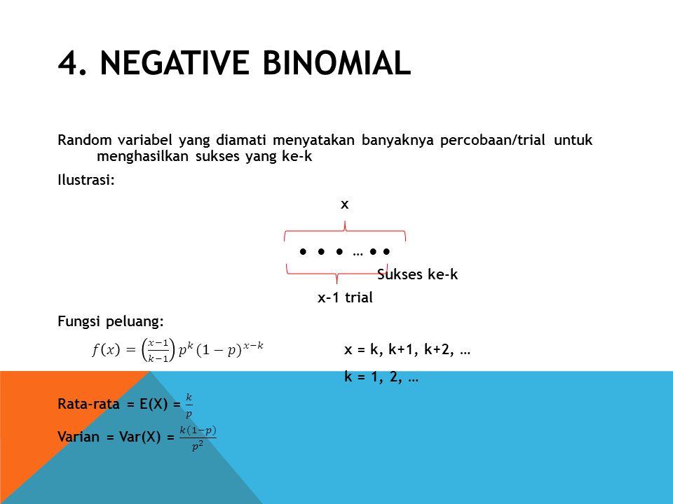 4. NEGATIVE BINOMIAL Random variabel yang diamati menyatakan banyaknya percobaan/trial untuk menghasilkan sukses yang ke-k.
